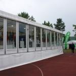 Zelt 15x35m mit Fensterelementen, unterbaut u. verkleidet